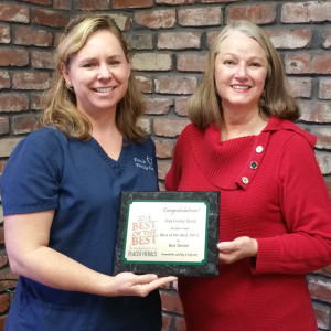 Rocklin dentist Dr. Kasi Franck receives the Placer Herald's 'Best of the Best' award from Jane Fox